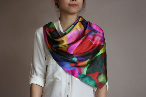 SOLD,OUT,Rainbow,Spot,Silk,Scarf,digitally printed digital print 100% silk scarves silk scarf luxury designer colourful vibrant abstract spot rainbow printed satin