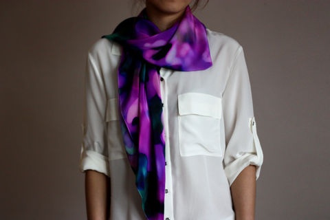 SOLD,OUT,Daydreaming,Silk,Scarf,digitally printed digital print scarves silk scarf luxury designer abstract printed crepe de chine 100% silk floral blurred