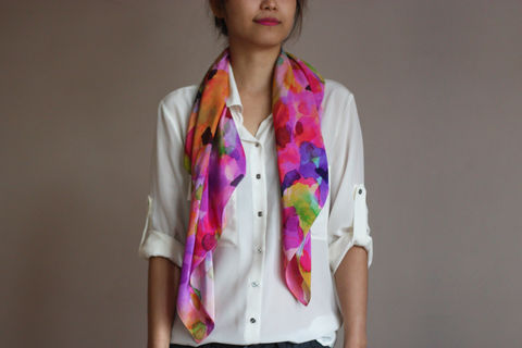SOLD,OUT,Fleur,Silk,Scarf,digitally printed digital print scarves silk scarf luxury designer abstract printed crepe de chine 100% silk floral blurred watercolour pink