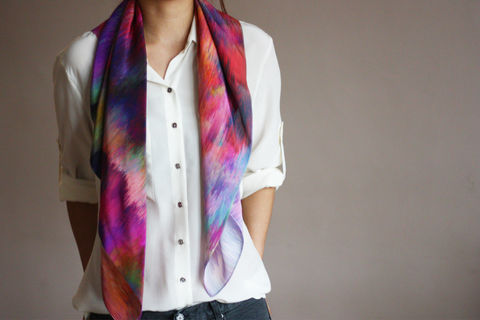 SOLD,OUT,Sunset,Storm,Silk,Scarf,digitally printed digital print scarves silk scarf luxury designer abstract printed crepe de chine 100% silk blurred
