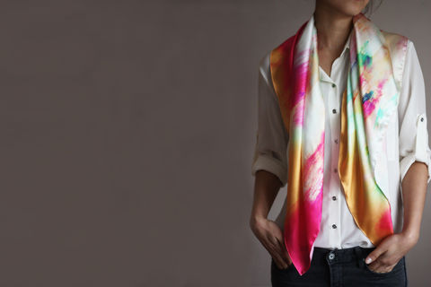 SOLD,OUT,Electric,Haze,Silk,Scarf,digitally printed digital print scarves silk scarf luxury designer abstract printed satin 100% silk