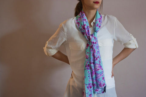 SOLD,OUT,Cherry,Blossom,Silk,Scarf,digitally printed digital print scarves silk scarf luxury designer abstract printed crepe de chine 100% silk floral mirrored cherry blossom