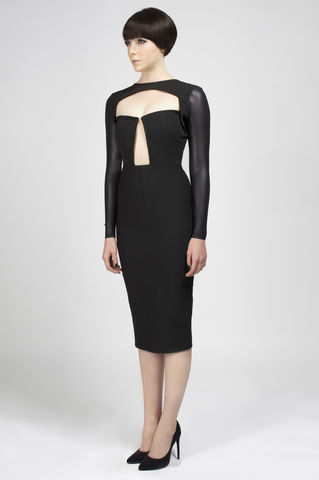 PREORDER,-,Michelle,andrea iyamah, leather dress, pencil dress, feathers, fall collection, clean, cut out, fashion, designer
