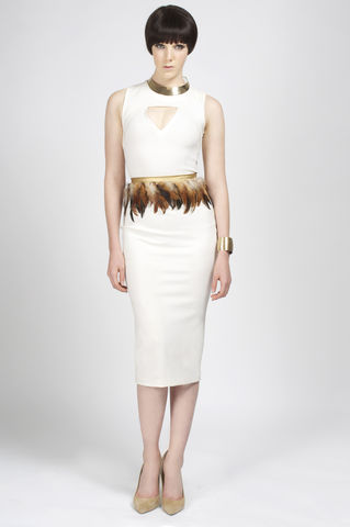 PREORDER,-,Cass,andrea iyamah, leather dress, pencil dress, feathers, fall collection, jumpsuit