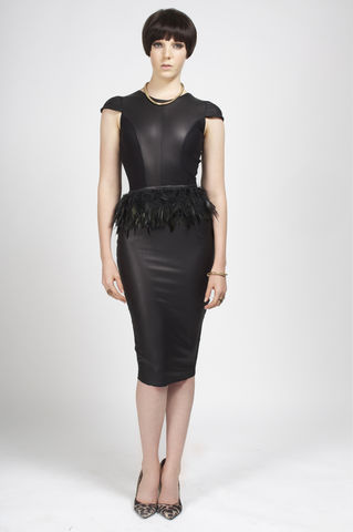 PREORDER,-,Dita,andrea iyamah, leather dress, pencil dress, feathers, fall collection