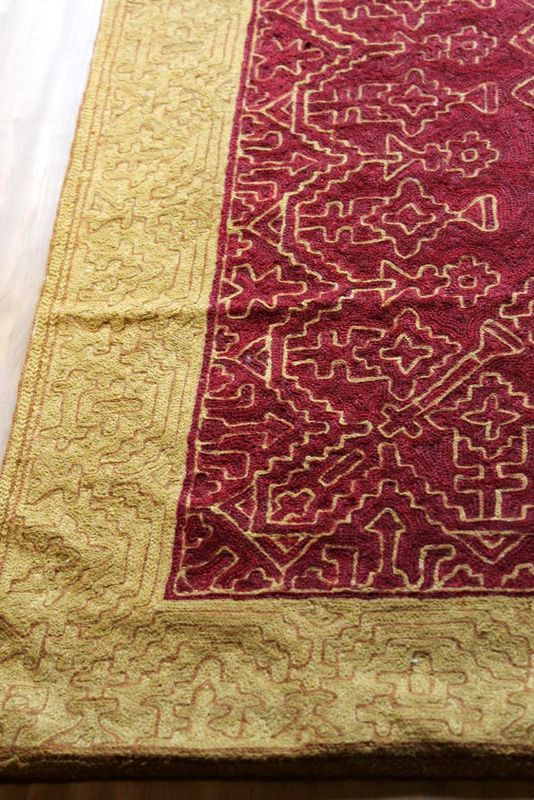 Kashmiri hand embroidered wool rug - tribal treasure - product images  of