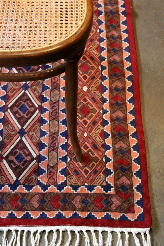 Kashmiri hand embroidered wool rug - tribal diamond - product images  of 