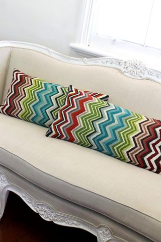 Mansoor,cushion, chevron, multi-colour, kashmiri, wool, fair trade, pillow