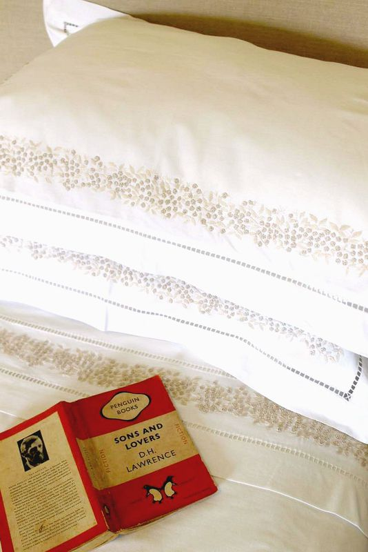 Ecru Mimosa hand embroidered bedding collection in 100% cotton - product images  of
