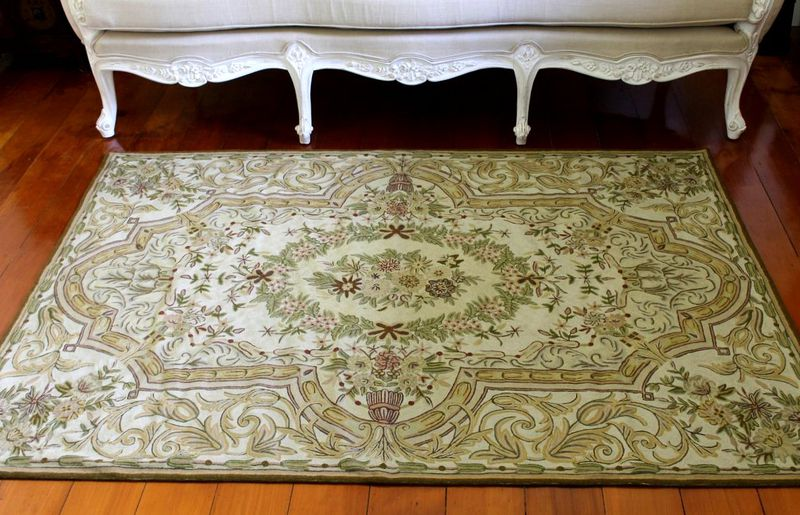Kashmiri hand embroidered wool rug - country garden - product images  of