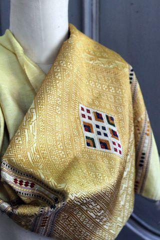 Vintage,Burmese,silk,scarf, scarf, thai silk scarf, silk, vintage, yellow, gold