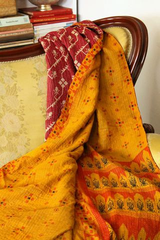 Handstitched,vintage,sari,katha,quilted,throw,-,Nada,kantha, sari, quilt, vintage, embroidery, textile, ethnic, indian