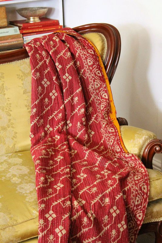 "Handstitched vintage sari katha quilted throw - ""Nada"" - product images  of"