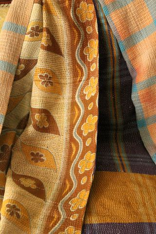 Handstitched,vintage,sari,katha,quilted,throw,-,Aarna,kantha, sari, quilt, vintage, embroidery, textile, ethnic, indian
