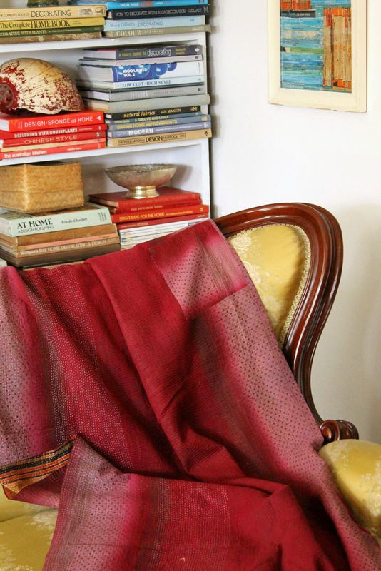 "Handstitched vintage sari katha quilted throw - ""Banhi"" - product images  of"