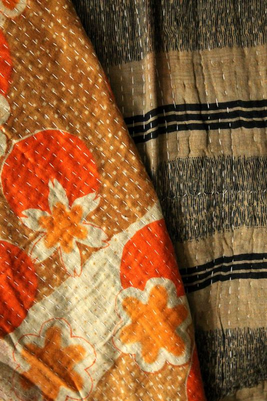 "Handstitched vintage sari katha quilted throw - ""Fajyaz"" - product images  of"