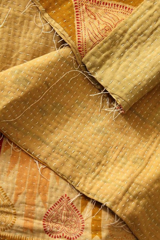 "Handstitched vintage sari katha quilted throw - ""Paavai"" - product images  of"