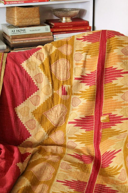 Handstitched vintage sari katha quilted throw - &quot;Paavai&quot; - product images  of 