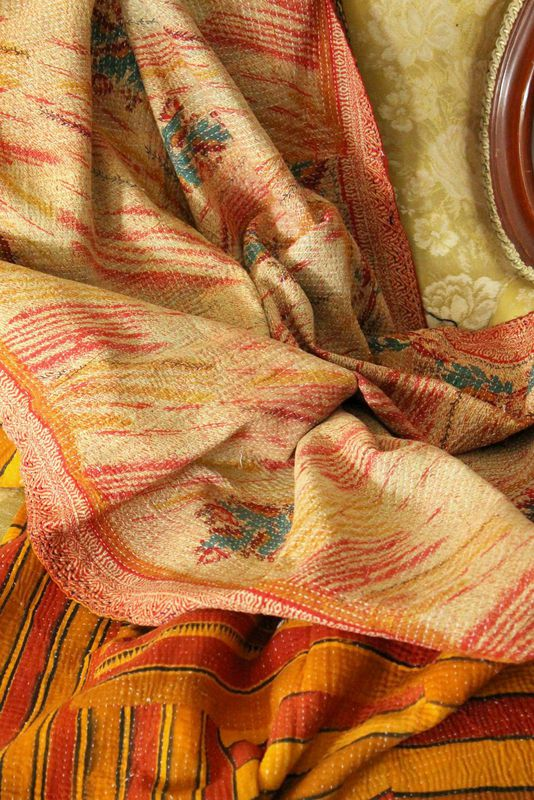 Handstitched vintage sari katha quilted throw - &quot;Danna&quot; - product images  of 