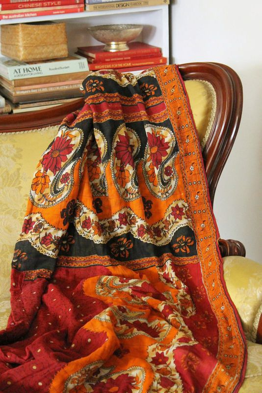 Handstitched vintage sari katha quilted throw - &quot;Jaba&quot; - product images  of 