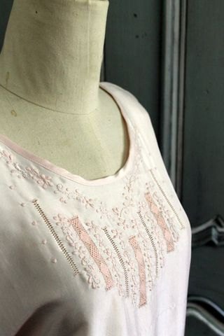Hand,embroidered,silk,nightie,-,pink,flowers, pyjamas, sleepwear, silk, chemise, embroidery
