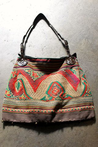 Thai,tote,textile tote bag, vintage tote bag, Thai bag, Thai tote bag, fabric and leather tote bag