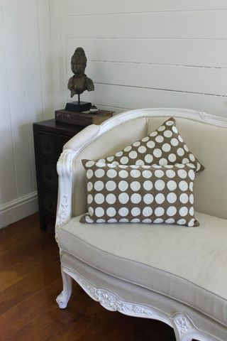 Circles,cushion,embroidered cushion australia, embroidered pillow australia, brown and white cushion, brown and white pillow, dotty cushion, embroidery cushion