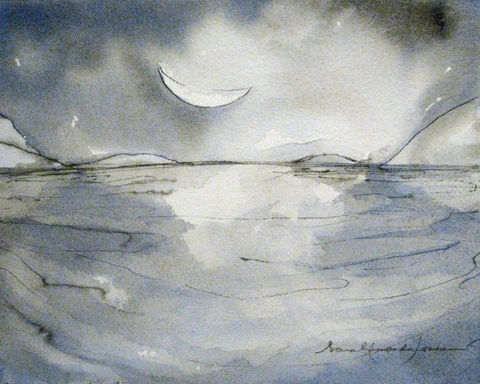 The,dark,clouds,are,hushed.,/,Cold,sea,curls,into,a,bay,,lit,by,crescent,moon.,original painting, goodnight moon art, art for children, baby present, nature painting, small painting, watercolor, simple art, peaceful painting