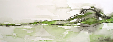 On,the,Horizon,II,Art,Painting,Watercolor,watercolor,ink,paper,original_painting,original,horizon,hills,mountains,green,minimalist,simple,wet_on_wet,lush