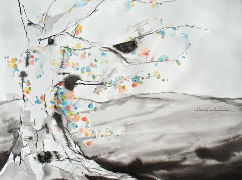 In,Falling,Snow,original painting, winter painting, zen painting, zen art, original watercolor, nature painting, watercolor, simple art, peaceful painting