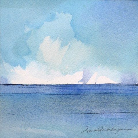 Symphony,in,blues,/,rising,,falling,,waves,of,bliss.,And,I-,I'm,alive.,original painting, seascape painting, small painting, little painting