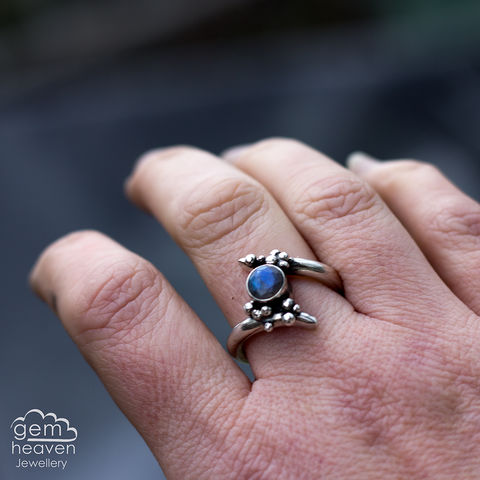 Grow,Jewellery, Ring, rustic ring, sterling silver, silver ring, Labradorite, Labradorite ring, boho style, uk made, rustic silver, gemstone ring, blue gemstone, silver stone ring,  witch jewellery