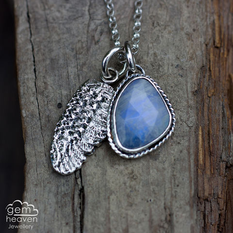 StoryTeller,Series,-,Wings,and,Dreams,Rose Cut Moonstone, Moonstone, angel wing necklace, storyteller pendant, cast silver, story teller series, charm necklace, cornish jewellery, cornish jeweller, boho style, bohemian jewellery, rustic silver, hand crafted, sterling silver