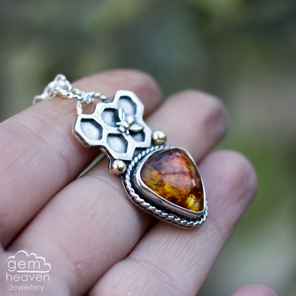 Keeper of Bees Necklace with Amber - product image
