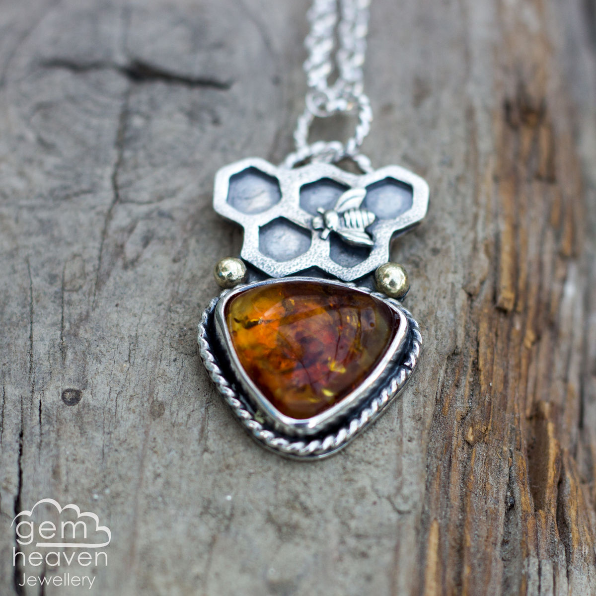 Keeper of Bees Necklace with Amber - product images  of