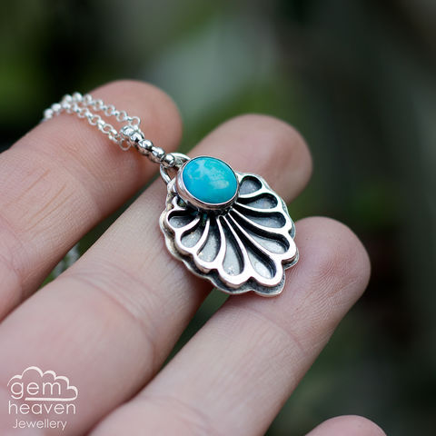 Unfold,series,Necklace,with,Turquoise,Turquoise pendant, blue stone pendant, fan shaped necklace, small stone pendant, sterling silver,  gemstone, boho style, uk made, silver and gemstone, cornish jewellery, cornish silver jewellery,