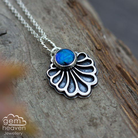 Unfold,series,Necklace,with,Paua,shell,Paua shell pendant, blue stone pendant, fan shaped necklace, small stone pendant, sterling silver,  gemstone, boho style, uk made, silver and gemstone, cornish jewellery, cornish silver jewellery,