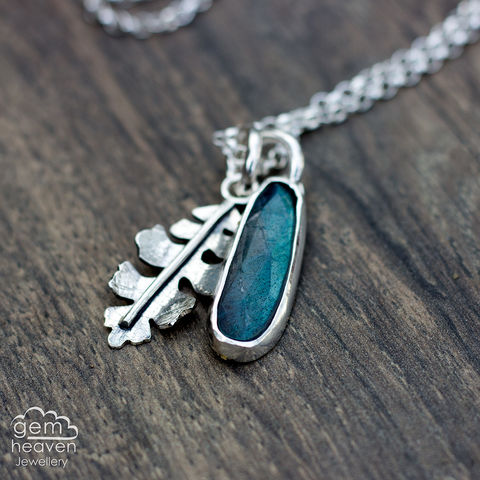 Realm,with,Labradorite,Labradorite pendant, leaf pendant, sterling silver, silver necklace, bohemian necklace, boho style, uk made, charm necklace, charm pendant, black sunstone, cornish jeweller, cornish jewellery,