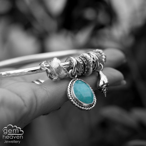 Spinner,of,Yarns,bangle,with,Amazonite,charm bangle, cast shell,  Amazonite, green gemstone, rustic silver, sterling silver, uk made, boho style, cornish jewellery, cornish jeweller, bohemian jewellery, gypsy style,