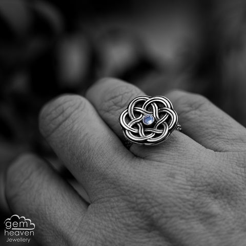 Celtic,Knot,Ring,Jewellery, Ring, , celtic knot style ring, moonstone ring,  stone ring, june birthstone, gemstone ring,  ring band, sterling silver ring, silver gemstone ring, uk made, bohemian style, rustic ring, purple gemstone, metalwork ring, gemheaven jewellery, wis