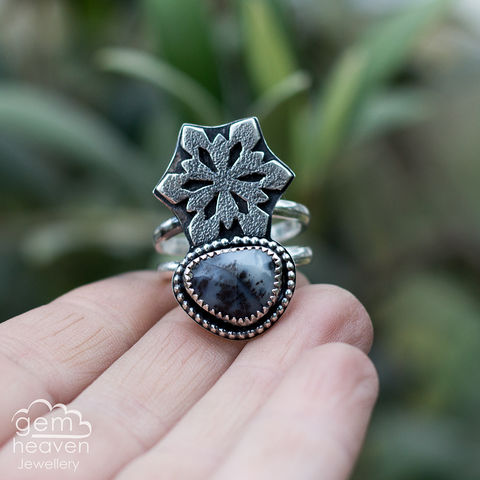 Whispers,of,Winter,ring,Jewellery, Ring, Dendrite Opal ring, snowflake  ring, gemstone ring, hammered ring band, sterling silver ring, silver gemstone ring, uk made, bohemian style, rustic ring, purple gemstone, metalwork ring, gemheaven jewellery, wish ring