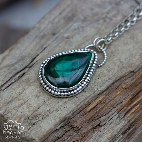 All,the,Branches,Malachite, pendant, teardrop, green,  necklace, tree, gemstone, boho style, medieval, rustic silver, sterling silver, uk made, cornish jewellery, bohemian style, cornish jeweller, jo tubb, art, design, witch jewellery, gypsy,