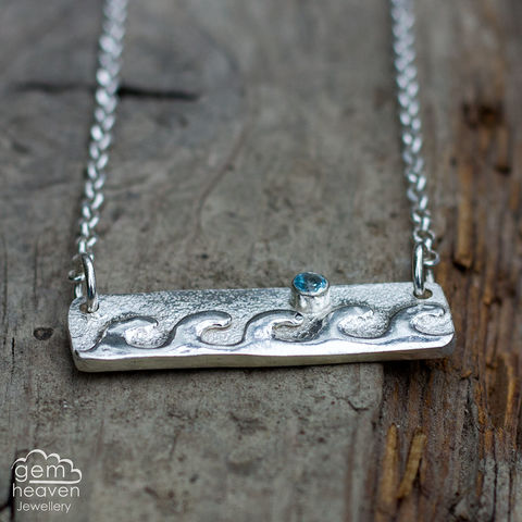 Flowing,Shores,Bar,Necklace,wave pendant, sterling silver, bar necklace, rustic silver, boho style, bohemian jewellery, hand made, hand crafted, ocean inspired, cornish jewellery, cornish jeweller, unique