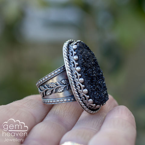 RESERVED,-,The,Darkness,of,My,Soul,Statement,ring,Statement ring, Druzy, tapered ring band, waves, black druzy, rustic silver, chunky ring, black ring , gemstone ring, boho style, bohemian jewellery, gypsy style, witch jewellery, witchy, cornish jewellery, cornish jeweller