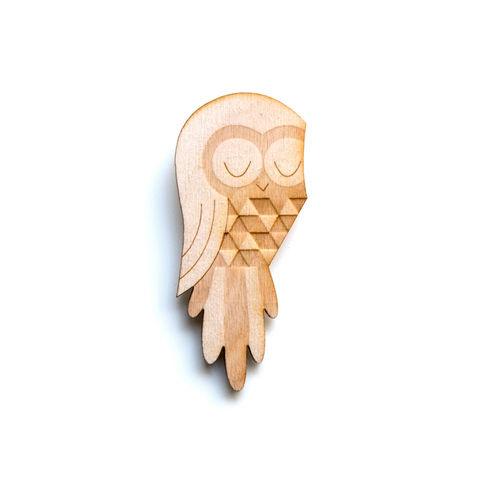 Owl,-,Wooden,Badge,/,Pin,Brooch,Accessories