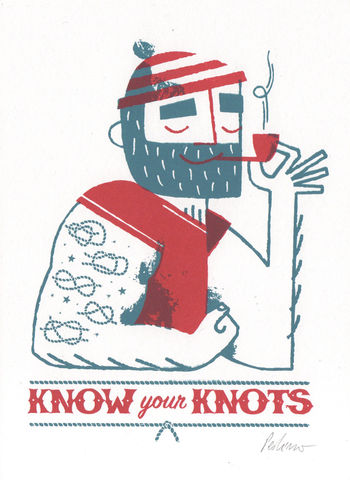 Know,Your,Knots,(Red),-,2,colour,screenprint,A5