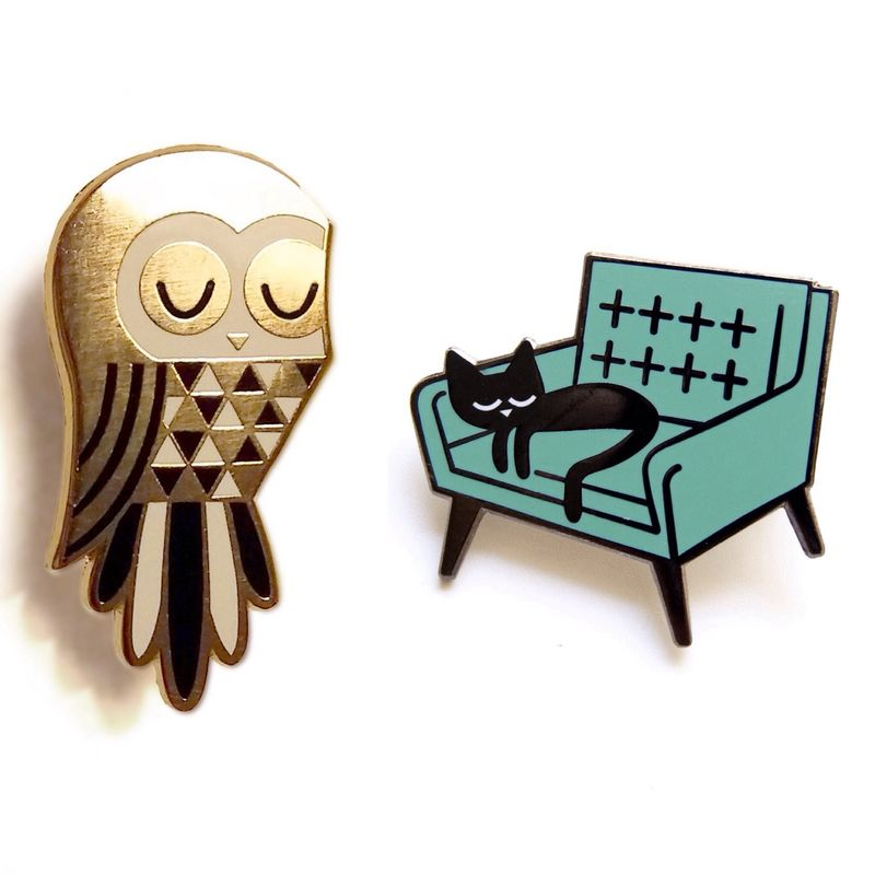 Twit Owl and Cat Nap - Enamel Pin Badges - product images  of