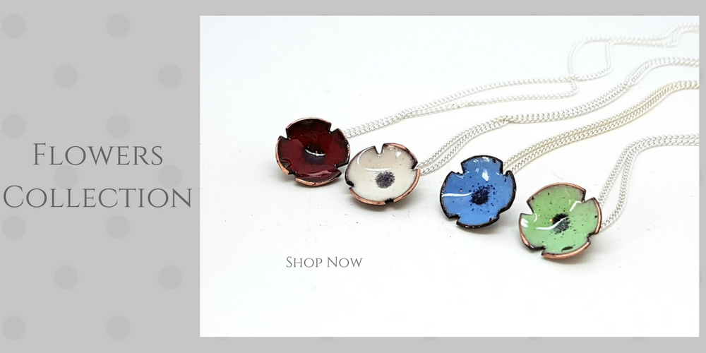 enamel poppy pendants
