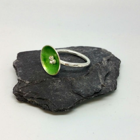 Sterling,Silver,and,Green,Enamel,Statement,Ring,MaisyPlum ,Rings,birthday gifts, bridesmaids gifts, contemporary enamel rings, enamel jewellery, enamel rings jewellery, enamel rings stackable, enamel statement ring, funky cocktail rings
