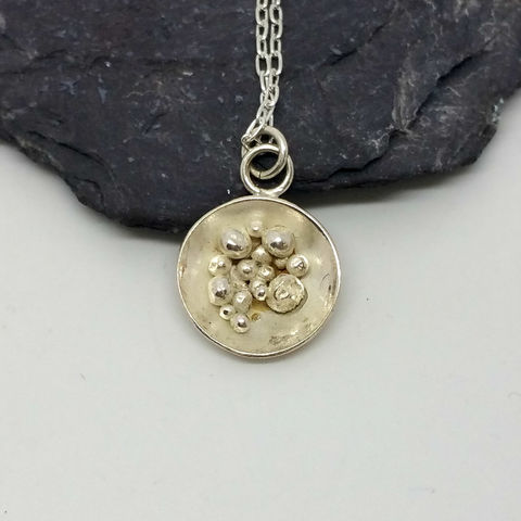 Sterling,Silver,Granulation,Disc,Pendant,MaisyPlum , disc necklace, sterling silver disc jewellery, necklaces, pendants, bubbles pendant, disc pendant, granulation disc necklace, granulation jewellery, handmade silver necklace, maisyplum, silver granulation pendant, sterling silver, womens jewel